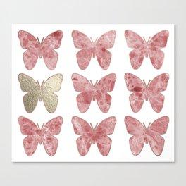 Golden rosy mauve butterflies Canvas Print