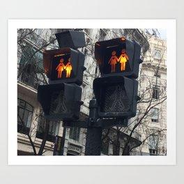 Gay Street Lights (Lesbian Couple) Art Print