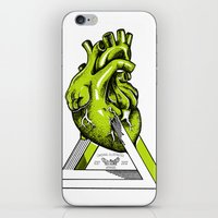 anatomical heart iPhone & iPod Skins featuring Green Anatomical heart  by Mia Hawk