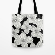 Dogwood Floral Linear: Ivory on Black  Tote Bag