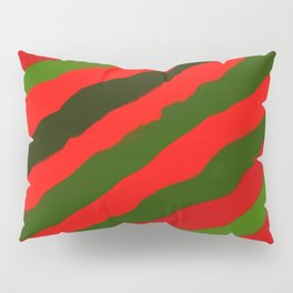 Merry Red Green Holiday Stripes Pillow Sham