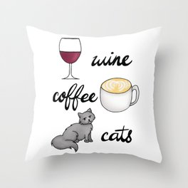 Wine Coffee Cats Throw Pillow