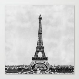 Eiffel tower, Paris France in black and white with painterly effect Canvas Print