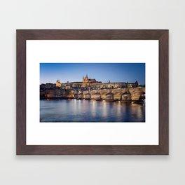 Prague Castle and Charles Bridge Framed Art Print