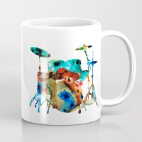 drums Mugs featuring The Drums - Music Art By Sharon Cummings by Sharon Cummings