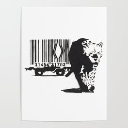 Banksy Animal Rights Artwork, Jaguar Tiger Barcode Prints, Posters, Bags, Tshirts, Men, Women, Youth Poster