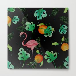 Flamingo Tropical Scene // Black Green Pink Orange Palette Metal Print