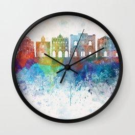 Cuenca skyline in watercolor background Wall Clock