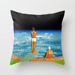 Jump in clouds Throw Pillow