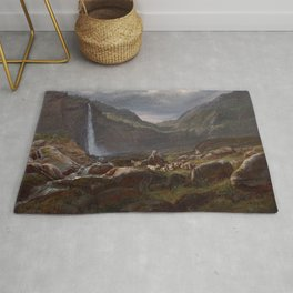 Feige Waterfall by Johan Christian Dahl, 1848 Rug