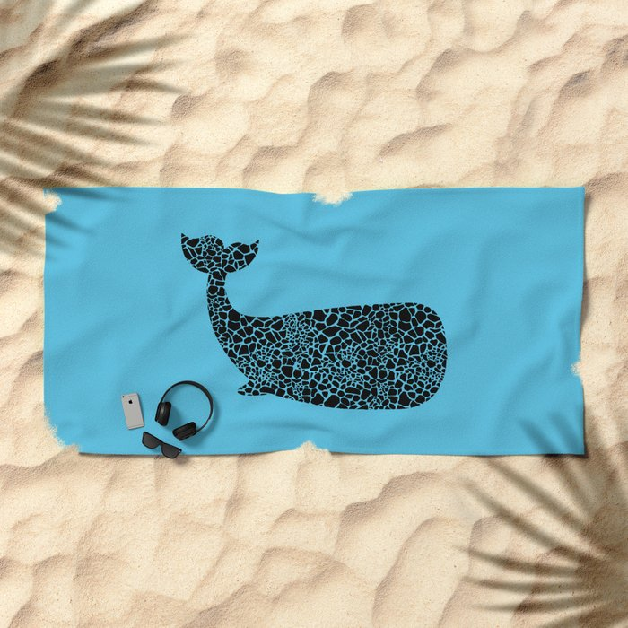 Whale with giraffe pattern Beach Towel