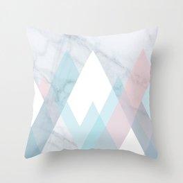 Snowy Peak on Marble Throw Pillow