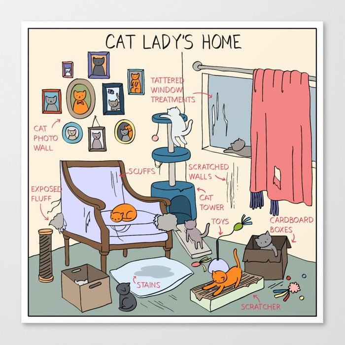 Cat Lady's Home Canvas Print
