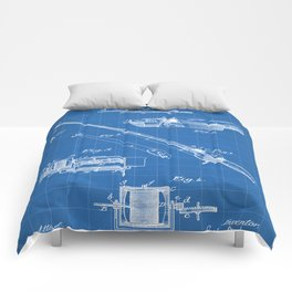 Fishing Rod Patent - Fishing Art - Blueprint Comforters