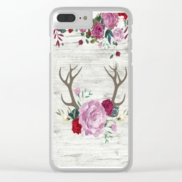 White Wood with Romance Flowers Clear iPhone Case