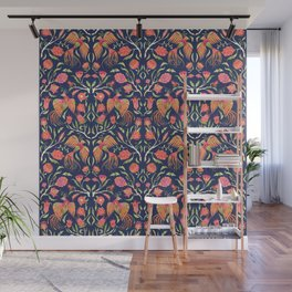 Modern symmetric paradise birds and flowers Wall Mural
