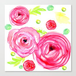 Watecolor Roses Patten Painting Canvas Print