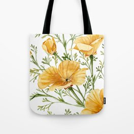 California Poppies - Watercolor Painting Tote Bag