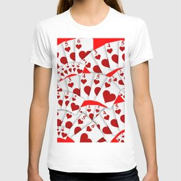 """DECORATIVE RED """"ROYAL FLUSH"""" IN RED HEARTS SUIT T-shirt"""