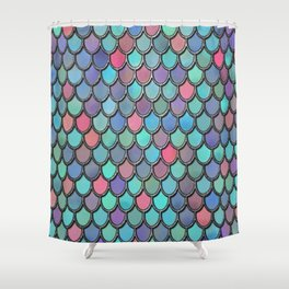 Colorful Watercolor Mermaid Scales Shower Curtain