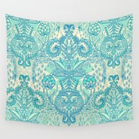bedding Wall Tapestries featuring Botanical Geometry - nature pattern in blue, mint green & cream by micklyn