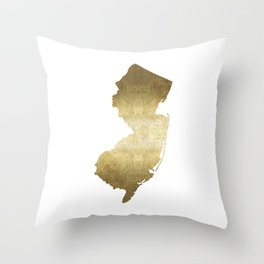 New Jersey state map gold foil Throw Pillow