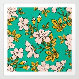 Teal Spring Ditsy Floral Art Print