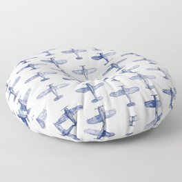 Blue Watercolor Airplanes Floor Pillow