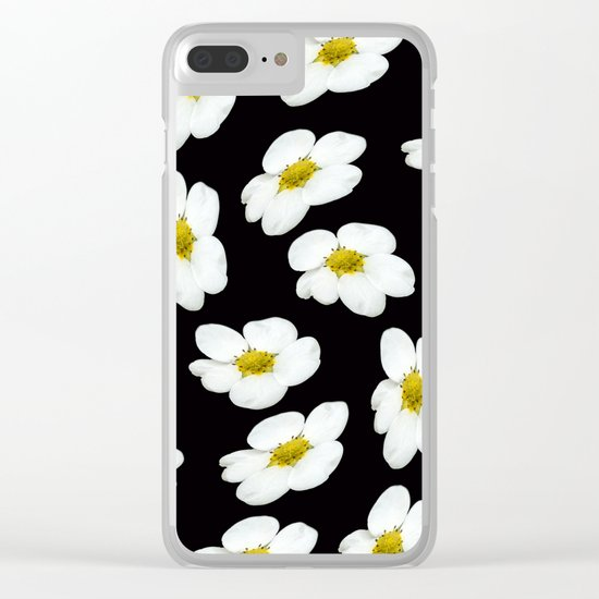 White flowers on a black background #Society6 #buyart Clear iPhone Case