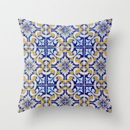 Close-up of blue, white and yellow ceramic wall tiles in Tavira, Portugal Throw Pillow
