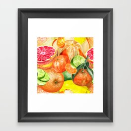 Pattern with citruses Framed Art Print
