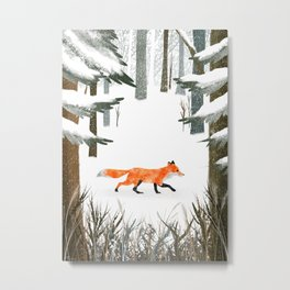 Fox In A Late Winter Snowfall Metal Print