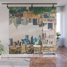 Twin Cities Minneapolis and Saint Paul Minnesota Skylines Wall Mural