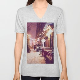 Winter Night with Snow in the East Village New York City Unisex V-Neck