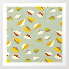 Mid Century Modern Graphic Leaves Pattern 1. Vintage green Art Print