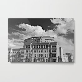 Outside the MFA - Black and White Metal Print