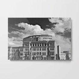Outside the MFA - Black and White Metal Print