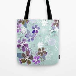 Summer blossom, blue and purple Tote Bag
