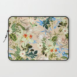 Hibiscus, Orchid, Rosebuds - White Blue Green Laptop Sleeve