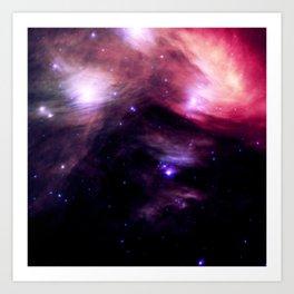 Galaxy : Pleiades Star Cluster nebUlA Purple Pink Art Print
