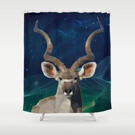 Low-Poly Kudu King Shower Curtain