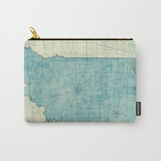 Indiana State Map Blue Vintage Carry-All Pouch