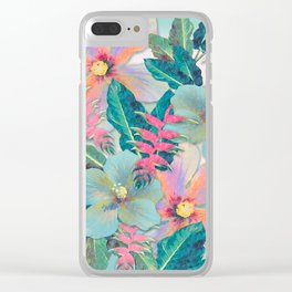Aqua Ginger Alohas Clear iPhone Case
