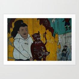 girl with devil Art Print
