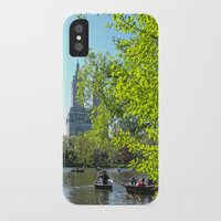 rowing iPhone & iPod Cases featuring Rowing at Central Park, NYC by Martha Washington