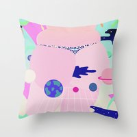 internet Throw Pillows featuring internet by Alba Blázquez