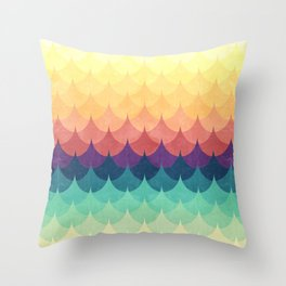 Sailing in Rainbow Waves Throw Pillow