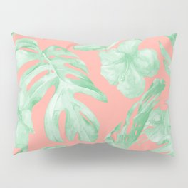 Tropical Palm Leaves Hibiscus Flowers Coral Green Pillow Sham