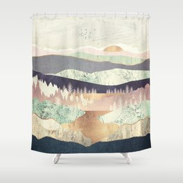 Golden Spring Reflection Shower Curtain