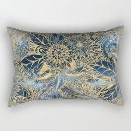 Elegant gold floral mandala and blue nebula design Rectangular Pillow